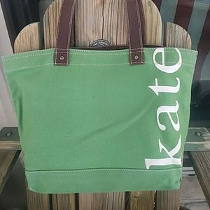 Kate Spade Green Canvas Tote